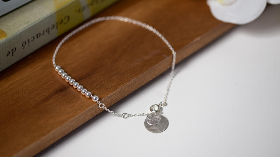 Sterling silver anklet with silver balls